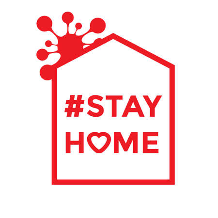 Social media icon in support of self-isolation and staying at home. Staying at home during a pandemic print. Home Quarantine illustration.