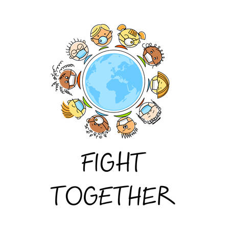 Fight together. People of different nationalities in medical masks. Stop coronavirus. Together stop pandemic. Save health concept, stop pandemic. Vector emblem.