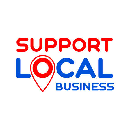 Local support. Pinpoint. Symbol of local support for production, business, companies. Template for poster, banner, signboard, web, card, sticker. Business help and support locally.