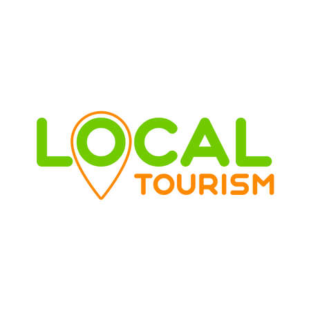 Local tourism. Symbol of local tourism. Template for poster, banner, signboard, web, card, sticker. Travel locally.