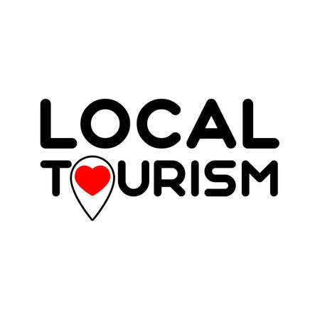 Local tourism. Symbol of local tourism. Template for poster, banner, signboard, web, card, sticker. Made locally.