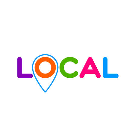 LOCAL. Pinpoint sign.Symbol of local production, business, tourism, shops. Template for poster, banner, signboard, web, card, sticker. Made locally.