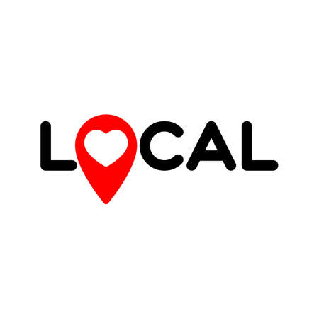 Local. Symbol of local production, business, tourism, shops. Template for poster, banner, signboard, web, card, sticker. Made locally. Çizim