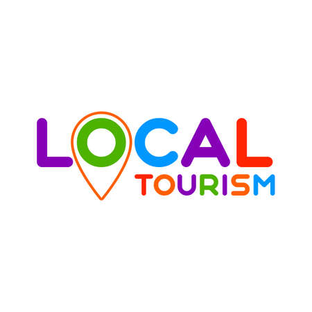 Symbol of local tourism. Template for poster, banner, signboard, web, card, sticker. Travel locally. Çizim
