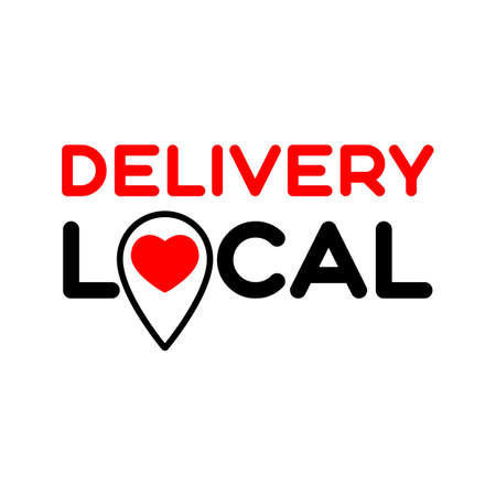 Local delivery. Symbol of local production, business, shop, cafe, restaurant. Template for poster, banner, signboard, web, card, sticker. Made locally.