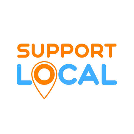 Local support. Symbol of local support for production, business, companies. Template for poster, banner, signboard, web, card, sticker. Business help and support locally. Çizim