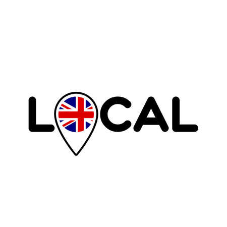 Local. Symbol of local production, business, tourism, shops. Template for poster, banner, signboard, web, card, sticker. Located or made in the UK, England. Çizim