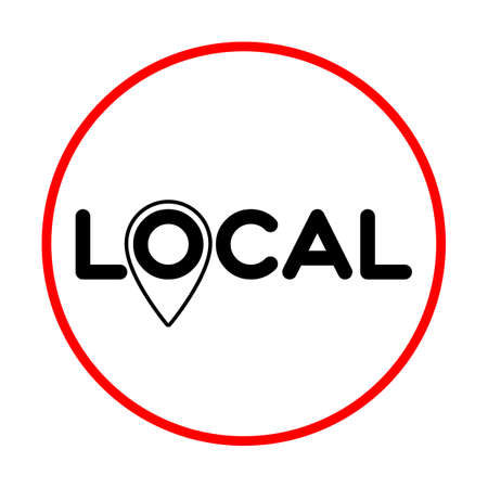 Local. Pinpoint sign. Symbol of local production, business, tourism, shops. Template for poster, banner, signboard, web, card, sticker. Made locally. Çizim