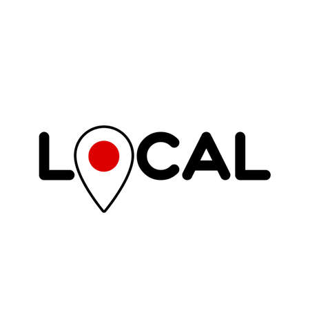 Local. Symbol of local production, business, tourism, shops. Template for poster, banner, signboard, web, card, sticker. Located or made in Japan.