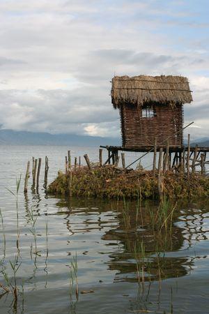 pile dwelling: Fisherman-Village On A Prespa Lake
