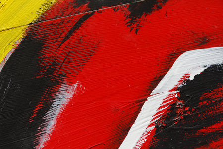 metal wall: Small part of painted metal wall with  blackred yellow and white paint   Colourful abstract backgroundClose up 7