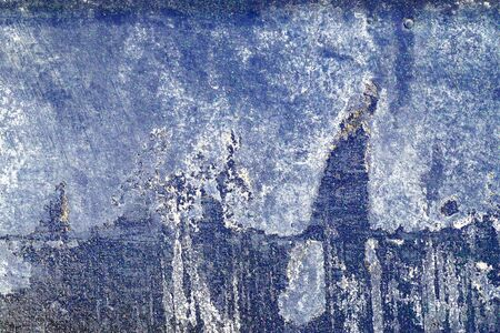 gruff: Small part of plastered hoarse,scratched and peeled surface area with blue and white paint -Abstract background-Close up Stock Photo