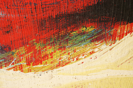 paint: Stroke of a brush with  yellow,blue,black  and red paint  on a dusty metal fence - Textured abstract background-Close up 7