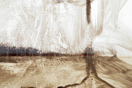metal monochrome: Stroke of a brush with brown paint  on dusty metal fence - Monochrome abstract background-Close up Stock Photo