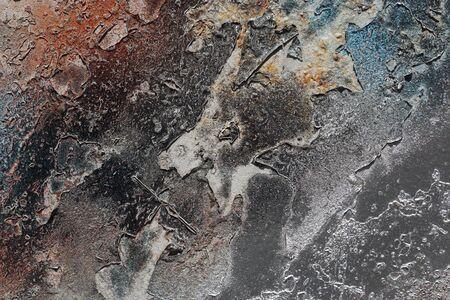 추상 질감 된 배경입니다. 그런 지 금속을 닫습니다. 녹슨, 더러운 오래 된 금속 오렌지, 블루, 브라운, 회색 및 실버 페인트와 뿌 렸 다. 다채로운, 긁힌 스톡 콘텐츠