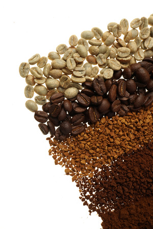 Close up of five different coffee types - coffee background Green, unroasted and roasted beans.   Instant, granulated and ground coffee.   Isolated on white.
