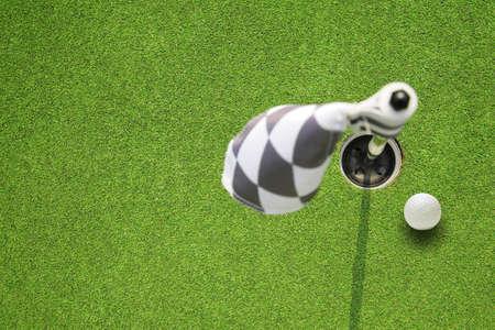 golf hole: golf hole flag on a field
