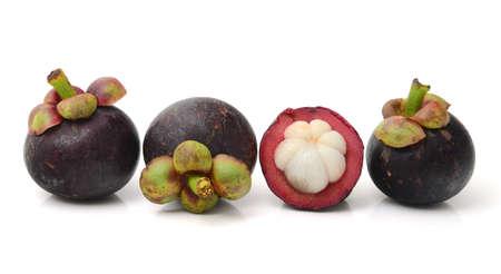 mangosteen: mangosteen on white background Stock Photo