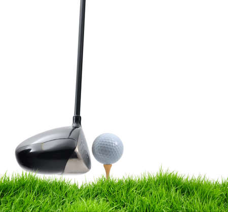 golf tee off on white background