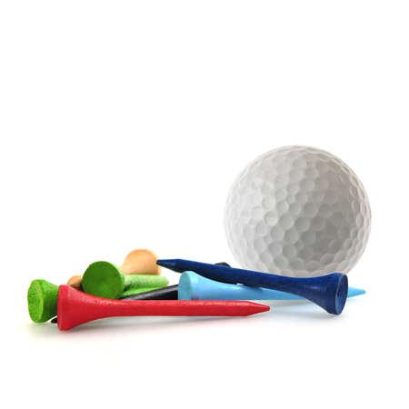 pelota de golf: Pelota de golf y tees Foto de archivo