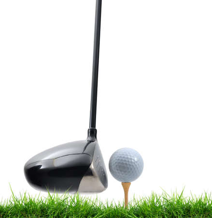tee off on white background Stock Photo