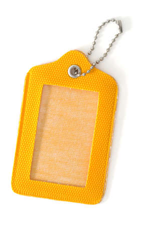 luggage tag: Empty yellow label
