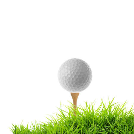 golf tee off isolated on white photo