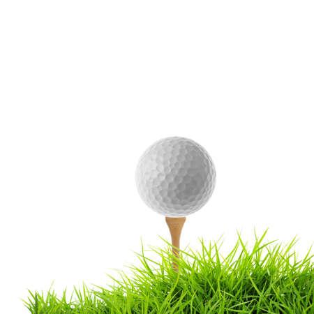 pelota de golf: tee de golf de aislados en blanco Foto de archivo