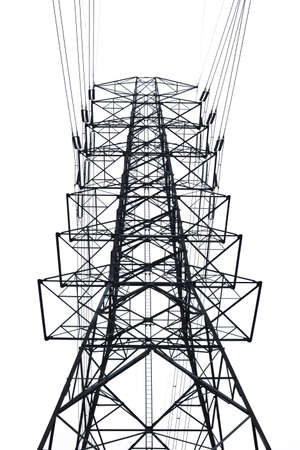 High voltage towers Isolated on white
