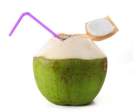 coco: Beber agua de coco Foto de archivo