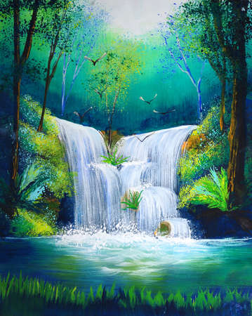 brooks: watercolor painting of waterfall