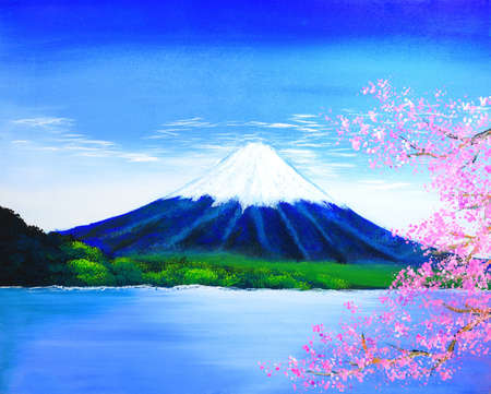 Fuji mountain painting photo