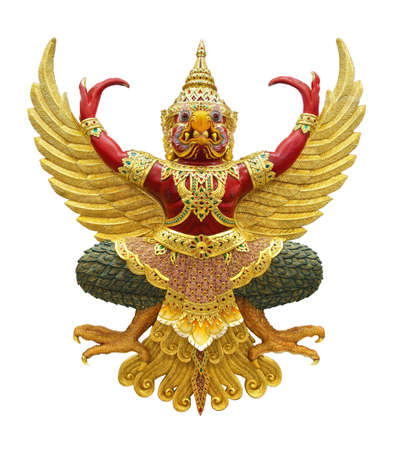 Garuda statue isolated on white, with clipping path Stok Fotoğraf
