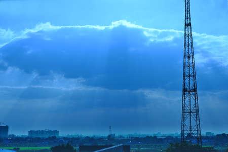 communications tower: Communications Tower at sunset