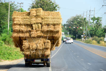 Hay Truck on the Road in Thailand photo