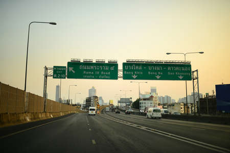 traffic on highway in bangkok Stock Photo