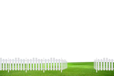 cerca blanca: Cerca blanca en el prado
