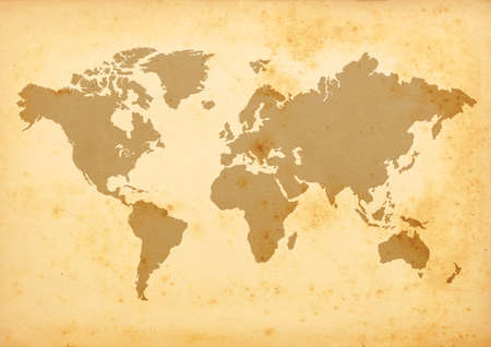 old world: world map on grungy paper