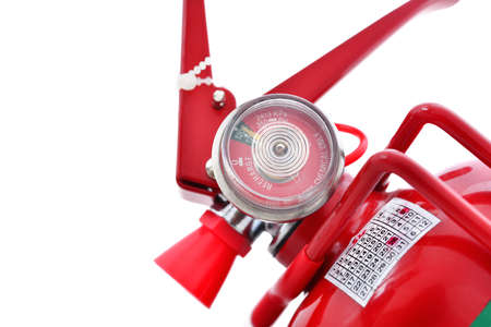 fire extinguishers: pressure gauge of fire extinguishers Stock Photo