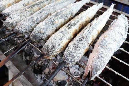 snake head fish: Grill serpente testa di pesce con sale, cibo in Thailandia