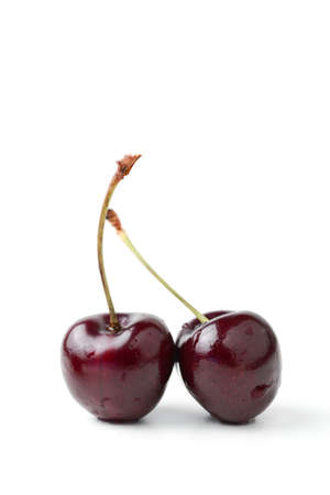 cereza: cerezas negras frescas aisladas en blanco Foto de archivo