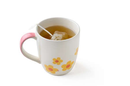 teabag: cup of tea with teabag, clipping path