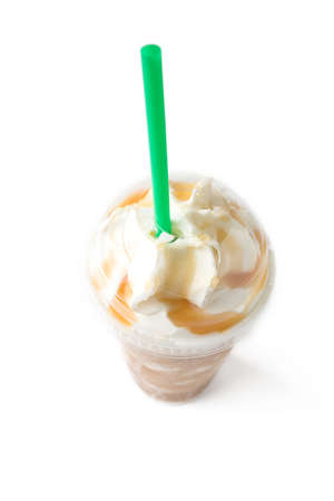 iced coffee: iced coffee with whipped cream Stock Photo