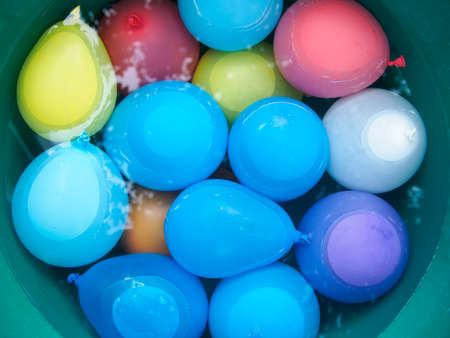 aerial bomb: water balloons in a bucket with water
