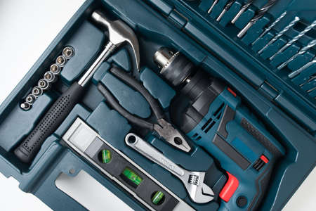 tool kit: tool kit set in box Stock Photo