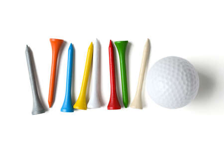 ball: golf ball and tee on white background