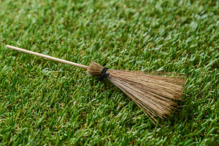 witch on broom: witch broom on the grass field