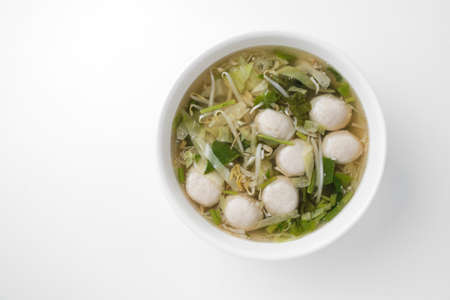 fish ball: clear soup with fish ball and vegetables