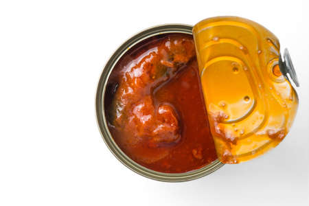 food state: open can of sardines in tomato sauce Stock Photo