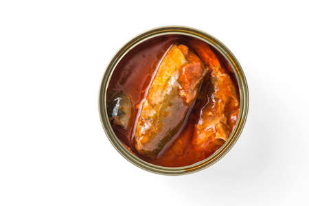 sardine can: open can of sardines in tomato sauce Stock Photo
